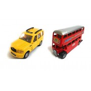 Combo Toys of Scorpio Car and Double Decker Bus Toys | Toys for Kids| Miniature Cars Toys | Pull Back and Go | Yellow and Red Color - Set of 2 Toys - Value Pack