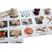 Wooden Montessori Object Match with Cards- Miniature Objects with Matching Cards - 2 Part Cards. Montessori learning toy language materials