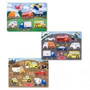 Melissa & Doug Wooden Peg Puzzles Set - Construction Site, Transportation and Vehicles, Multi Color