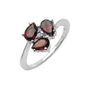 Inel argint 925 cu granat si diamant alb