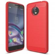 Para Motorola Moto E4 Plus (EU Version) Textura Cepillada De Fibra De Carbono Funda Protectora TPU Resistente Armadura A Prueba De Golpes (rojo)