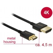 DeLock High Speed HDMI with Ethernet - HDMI-A male > HDMI Mini-C male 3D 4K 4,5m Active Slim High Quality C 84780