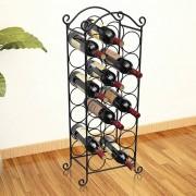 vidaXL Метална стойка за вино за 21 бутилки
