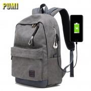 External USB Charge Canvas Backpack Notebook Computer Bag Men Women Waterproof Laptop Backpack College Student Bag for Teenagers