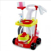 Toyshine Little Helper Cleaning Trolley Cart with Many Cleaning Accessories, Red