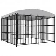 vidaXL Дворна клетка за кучета с покрив, 300x300x210 см