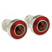 Mousie Bean Crystal Cufflinks Round Polo 004 Red/Siam