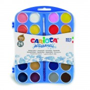 Acuarele lavabile, 24 culori/cutie + 1 pensula, CARIOCA