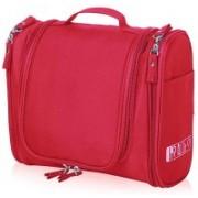 Everbuy Multifunctional Travel Bag Extra Large Makeup Organiser Cosmetic Case Household Grooming Kit Storage Travel Kit Pack with Hook Travel Toiletry Kit(Red)