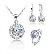 Set argint lant cercei inel cu elemente swarovski Wedding Crystal