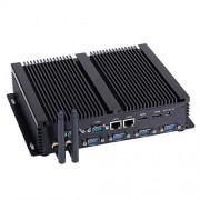 HUNSN Fanless Industrial PC,Mini Computer,Windows 7/10 Pro/Linux Ubuntu,Intel Core I5 4200U,(Black), IM04,[64Bit/Dual Band WiFi/2HDMI/4USB2.0/4USB3.0/2LAN/6COM],(4G RAM/64G SSD)