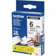 Ламинирана лента Brother TZ-211 Tape Black on White, Laminated, 6mm Eco - TZE211