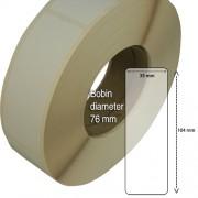 Etiketter på rulle, självhäftande, högblanka för bläck, 39 mm bärbana, 35x104 mm, 1000 st