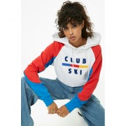Forever21 Club Ski Colorblocked Hoodie WHITERED