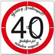 Szülinapi 40 sebességkorlátozós - Tréfás falióra