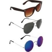 Zyaden Wayfarer, Aviator Sunglasses(Brown, Blue, Blue)