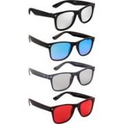NuVew Wayfarer Sunglasses(Silver, Blue, Grey, Red)