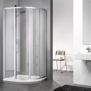 Douche Concurrent Douchecabine Sealskin Get Wet 110 Kwartrond Luxe 80x80x190cm Mat Zilver Chinchilla Glas