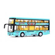 Emob Double Decker Die cast Metal Body Door Opening Luxury Blue Toy Bus with LED Light and Sound