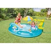 Piscina Gonflabila si Centru de Joaca pentru Copii cu Tobogan Jucarii Gonflabile Model 57129 Design Alligator 203 x 173 x 89 cm