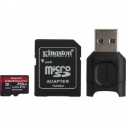 Kingston Canvas React Plus Card MicroSD 256GB UHS-II + Adaptor + Cititor de Carduri MobileLite Plus