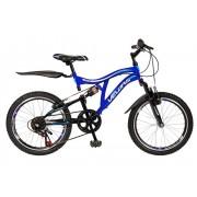 Bicicleta copii MTB-FS 20 Velors V2059A cadru otel albastru alb
