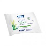 Nivea salviettine struccanti per il viso pure & natural confezione da 25 salviette