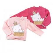 Pulover bebelusi roz pisica