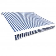 vidaXL Awning Top Sunshade Canvas Blue & White 4x3m (Frame Not Included)