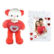 Tickles Tickles Cute Teddy With Lovely Heart And Love Couple Photo Frame Soft Toys (Red)