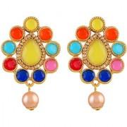 Asmitta Modern Multy Color Kundan Gold Plated Dangle Earring For Women