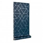 Kave Home Papel pintado Gea azul e prateado 10 x 0,53 m