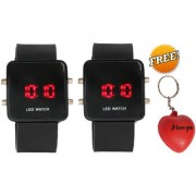 Pack of 2 Jack Klein Stylish Watches With Key Chain