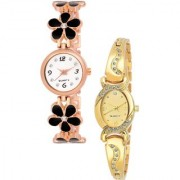Varni Retail Blck Flower Belt And Oval Gold Diamond 2 Combo Watch For Girls