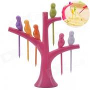 Estilo bird-on-the-tree birdie tenedor de frutas + soporte - rojo
