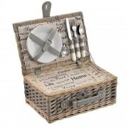 [casa.pro]® Piknik kosár - 2 személyes - evőeszköz, pohár, tányér (szürke)