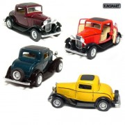 """Set of 4: 5"""" 1932 Ford 3-Window Coupe 1:34 Scale (Green/Maroon/Red/Yellow)"""