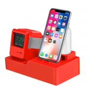 3-in-1 Retro Silicone Stand Holder for iPhone/Apple Watch/Airpods - Red