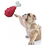 High Quality Natural Rubber Chew Bone Shape Toy for Dog / Cat / Puppy / Kitten (Red)