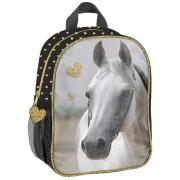 Merkloos Paarden rugzak/rugtas zwart/goud voor meisjes 28 x 22 x 10 cm