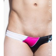 Mategear Ran Kwang Active I Flat Front Reduced Sides Extremely Sexy Mini Boxer Brief Underwear Magenta/Black/White 1340602