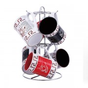 Set cani ceramica cu suport inox 7 piese VB6070068 280ml
