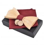 Dřevěný motýlek s kapesníčkem a manžetovými knoflíčky Gaira 709099