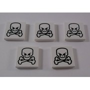 Lego Parts: White Tile 2x2 with Skull and Crossbones Pattern x5 Loose