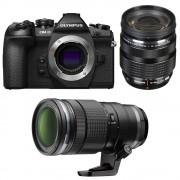 Olympus OM-D E-M1 MK II Aparat Foto Mirrorless 20MP MFT 4K Kit cu Obiectiv 12-40mm F2.8 si 40-150mm F2.8 PRO Negru
