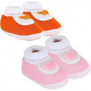 Neska Moda Pack Of 2 Baby Infant Soft Orange and Baby Pink Booties For Age Group 0 To 12 Months SK143andSK175