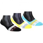 Neska Moda Premium 3 Pair Unisex Cotton No Show Loafer Socks Equipped With Silicon Gel Black Light Blue Yellow S507