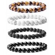 REBUY Bracelet Combo Pack of Tiger Eye Howlite Lava Stone and Black Tourmaline Stones Bracelet for Unisex