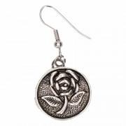Merkloos Zilveren oorbellen met roos drukknoop