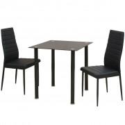 vidaXL Set masă și scaune de bucătărie, trei piese, negru